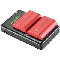 Neewer LP-E6 LP-E6N Replacement Rechargeable Battery Charging Set for Canon (2-Pack Red 2000mAh Camera Batteries and Micro USB Input Dual Charger, 100% Compatible with Original, Safety Protections)