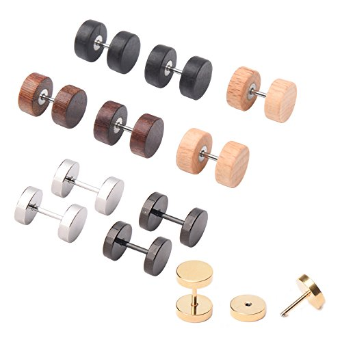 Milakoo 6 Pairs Wood Stud Earrings for Men Women Ear Piercing Ear Plugs Tunnel 18G