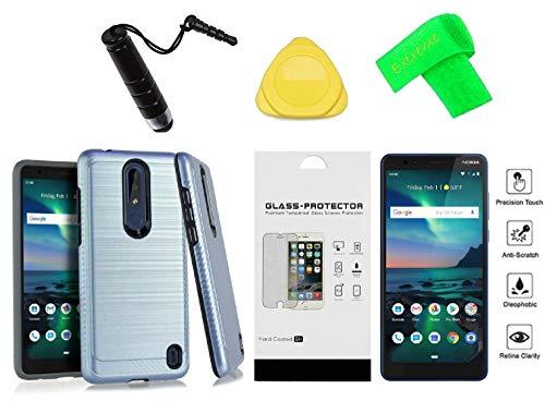 Nokia 3.1 Plus TA-1118 / HMD 3.1 Plus/Nokia Feller (2018) Slim Lining Hybrid Cover Phone Case + Tempered Glass + Extreme Band + Stylus Pen + Pry Tool (Blue)