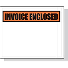 """4.5"""" x 5.5"""" x 2 mil Clear Plastic Packing List Envelopes with """"Invoice Enclosed"""" Printed on Orange Background (Case of 1,000)"""