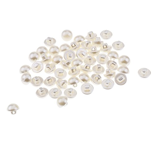 Baosity 50 Pieces 2 Holes White Plastic Pearl Button with Shank DIY Sewing Crafts 10mm ()
