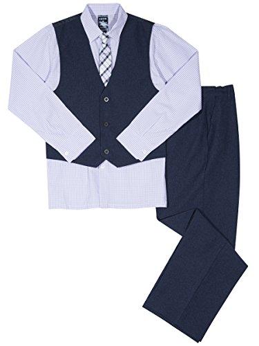 Izod boys 4-Piece Formal Vest Set with Shirt, Vest, Pants, and Tie, Posies, 4T