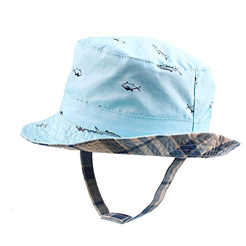 - Classic Baby Boys Hat Caps Cotton Toddler Kids Sun Hat for Boys Spring Summer (0-4Y) (Blue Fish, S)