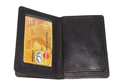 LeatherBoss Police Shield Shape Badge Holder Bifold Wallet - Black