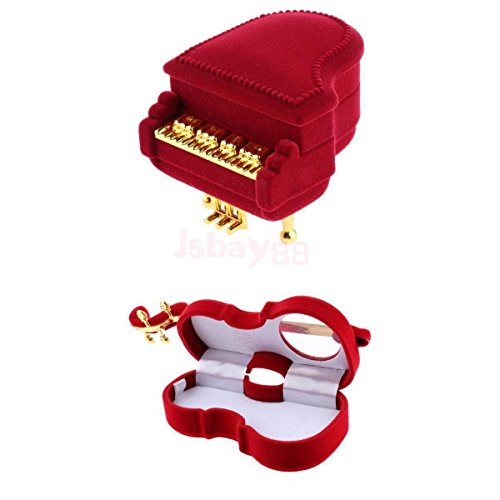 Vipasnam 2Pcs Ring Jewellery Display Storage Box Violin  Piano Earrings Ring Holder