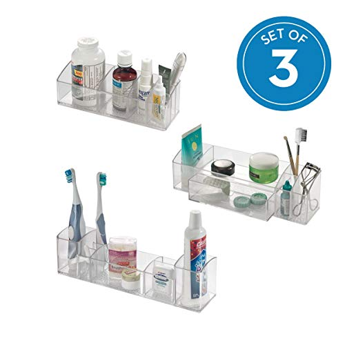 - InterDesign Med+ Plastic Bathroom Medicine Cabinet Organizers for Toothbrushes, Medication, Contact Lenses, Medical Supplies, Cosmetics, Makeup Brushes, Craft Supplies, Set of 3 Unique Pieces, Clear
