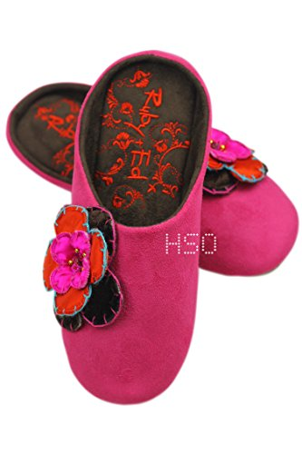 Ex-Store Ladies Womens Girls Ballerina Boot Slip On Slippers Fur Pink Green Grey Christmas Present Gift UK 3-8 Pink Flower Slider Slippers mb9sx