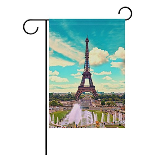 Blue Viper Paris Eiffel Tower And Fountain Garden Flag Banner 28 x 40 Inch Decorative Garden Flag for Outdoor Lawn and Garden Home Décor Double-Sided by Hokkien