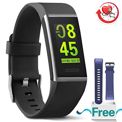 ss Tracker HR, Waterproof Color Screen Activity Tracker with Heart Rate Blood Pressure Monitor, Smart Wristband Pedometer Watch with Step Calories Counter, Black ()