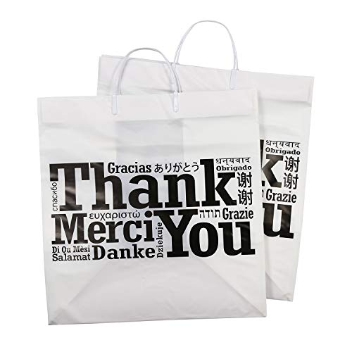 Royal Recyclable Plastic Shopping Bags with Rigid Handles, 14'' x 10'' x 15'', Multilingual''Thank You'' Design, Case of 100 by Royal (Image #3)