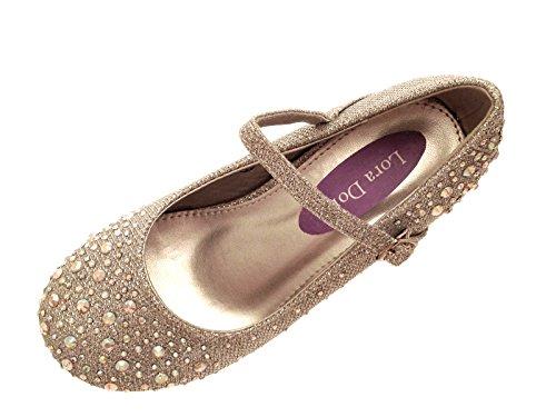 Party-Schuhe für Mädchen, Mary Jane-Schuhe, mit Glitzersteinen, niedriger Absatz, für Brautjungfern, Silber - silber - Größe: 32 EU Kinder