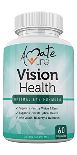 (Vision Health with Quercetin Dihydrate 100mg - Essential Eye Vitamins, Lutein 20mg & Bilberry Capsules for Natural Eye Support - Made in USA - 60 Capsules by Amate Life)