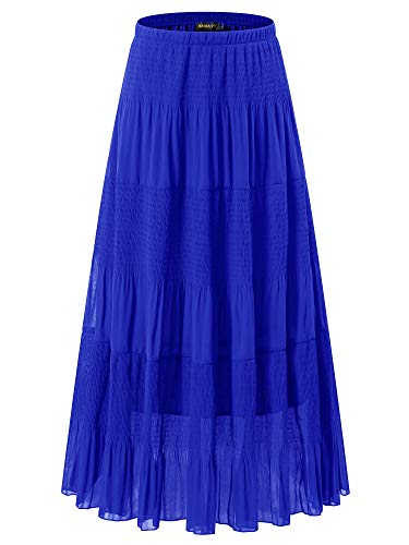 NASHALYLY Boho Gypsy Long Maxi Tiered Skirt - Chiffon Elastic High Waist Pleated A-Line Flared Skirts(Lake Blue, L)