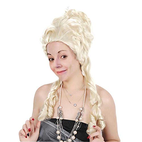 18th Century Wigs Adult Women Marie Antoinette Halloween Cosplay Colonial Blonde Long Curly Hair with Free Cap Gold