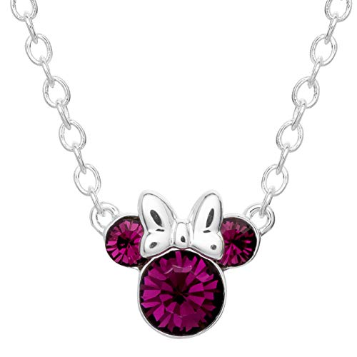 Disney Minnie Mouse Silver Plated Crystal January Birthstone Necklace 16