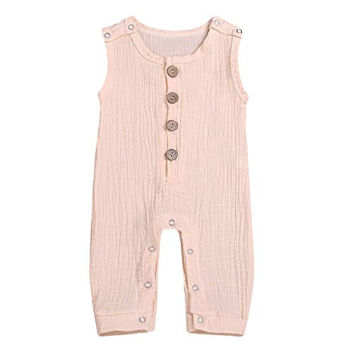 Unisex Baby One Piece Infant Toddler Girls Boys Button up Sleeveless Romper Jumpsuit Shorts Basic Outfit Clothes Pink