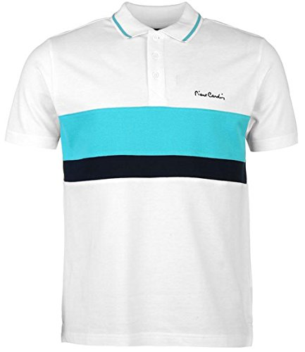 Mens Short Sleeves Contrasting Stripe Polo Shirt Top (Large, White/Turq) (Cardin Pierre Clothes)
