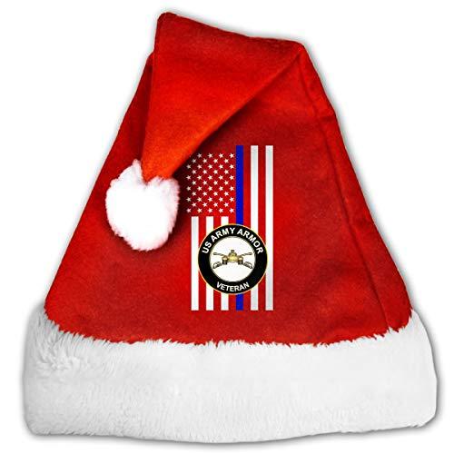 Thin Blue Line US Army Veteran Armor Christmas Santa Hat for Adult & Children