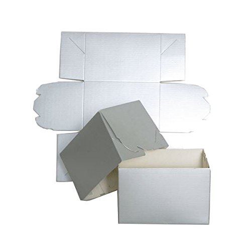 JAM PAPER Gift Box with Grooves - 16 x 16 x 2 1/2 - Silver - Sold Individually (Jam Paper Gift Box)