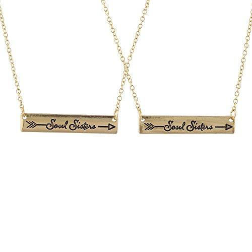 Lux Accessories Gold Tone Soul Sisters Etched Arrow Bar Pendant Necklace Set 2PC