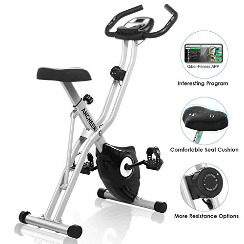 ANCHEER Folding Magnetic Exercise Bike, 10-Level Adjustable Stationary Bike - Tablet Stand & Large and Comfortable Seat Ancheer