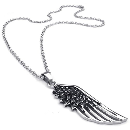 Stainless Steel Necklaces, Men's Pendant Necklace Angel Wing Link Black Fit 18-26