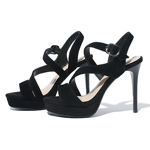 AmoonyFashion Womens Frosted Buckle Open-Toe High-Heels Solid Sandals Black 3gbGOdRhz