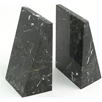 Triangular Black Marble Bookends