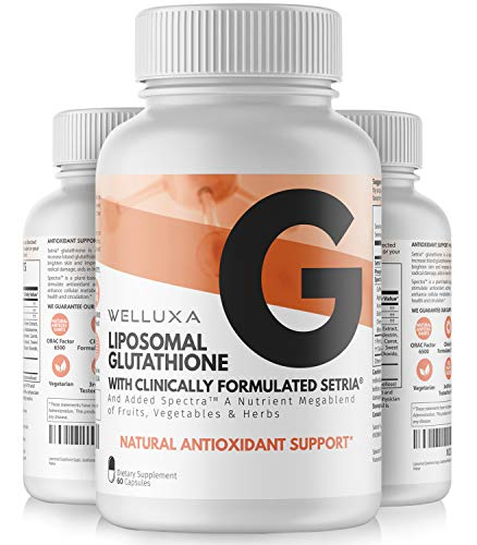 Liposomal Glutathione (600 mg) - Setria Reduced Glutathione Capsules for Skin Whitening Antioxidant Support Liver Health Immunity & Detox - Glutathione Supplement - L-Glutathione Pills (60 ct)