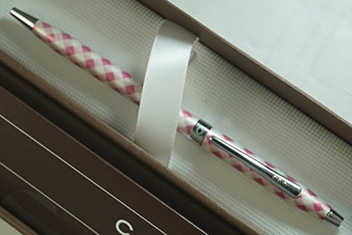 Cross Century Colors Executive Essential Classic Gingham Pink Print Tints with Jewelry-Quality Center Band Medium Point Ballpoint Pen