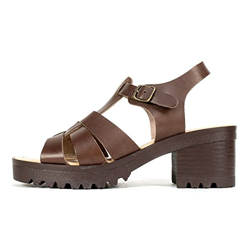 SEVEN DIALS Shutter Italian Leather Chunky Lug Sole T-Strap Retro Sandals (8.5, Brown)