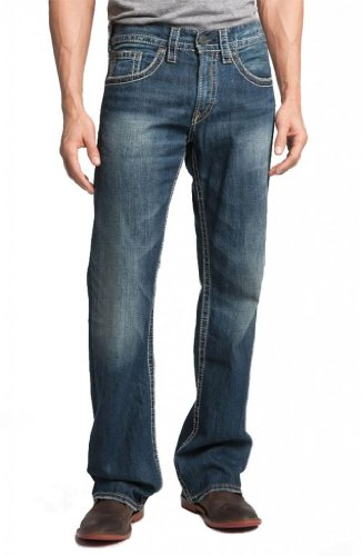- Silver Jeans Men Zac Flap Faux Pockets Relaxed Fit Straight Leg Distressed Hem in Blue