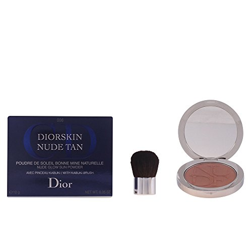 Christian Dior Skin Nude Tan Glow Sun Powder with Kabuki Brush for Women, No. 006 Sienna, 0.35 Ounce