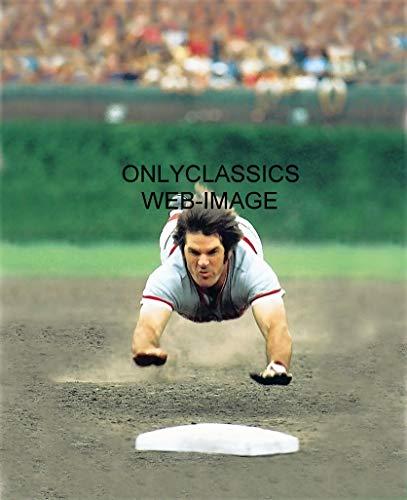 OnlyClassics Baseball Player Legend PETE Rose Super Dive Slide Charlie Hustle 11X14 Poster