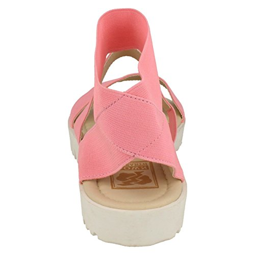 Down To Earth Ladies Elasticated Flat Sandals - Pink Textile - UK Size 4 - EU Size 37 - US Size 6 Vf7C94PqQ