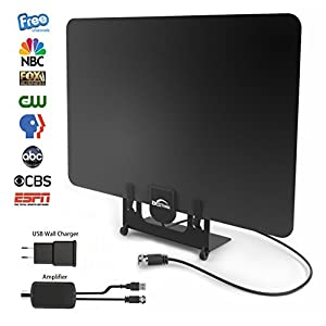 Digital Indoor Antenna – Best 55 Miles Long Range HDTV Amplifier Antenna with Signal Booster, Power adapter - UPGRADED 2018 VERSION