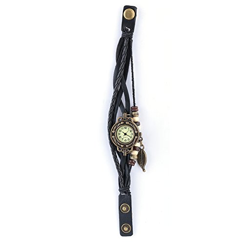 Dilwe Bracelet Watch, 5 Colors Women Bracelet Analog Quartz Wristwatch With PU Strap and Leaf Pendant(Black) (Plate Round Dial Scale)