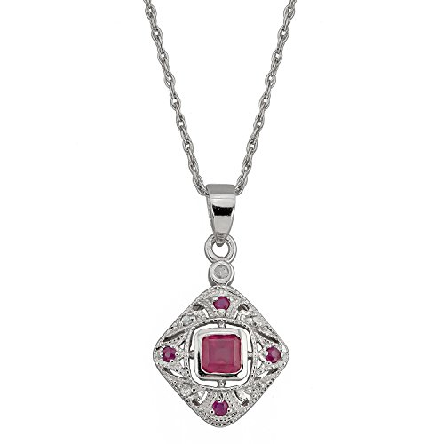 10k White Gold Vintage Style Ruby and Diamond Pendant Necklace