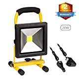 20W Rechargeable LED Work Light Portable Floodlight Waterproof Battery Spotlight Workshop Car Garage Home Emergency Security Light Outdoor Lamp for Camping Garden