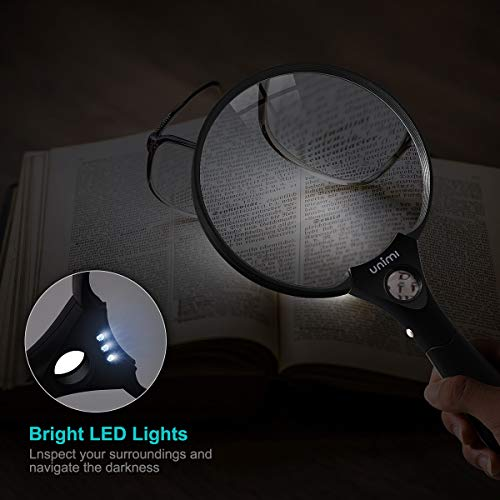 Magnifying Glass, UNIMI Magnifier 5.5 Inch Extra Large Magnifying Glass with light, 3 Bright LED Illuminated 2X Magnifier Lens 4X 25X Zoom Lightweight Hand Held Magnifiers Lens For Reading - Black