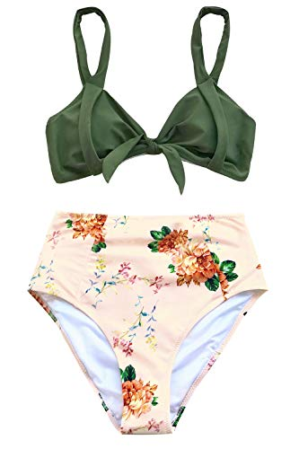 CUPSHE Women's Lost in The Dream High-Waisted Bikini Set Beach Swimwear Bathing Suit (Small, Green Floral) (Hawaii Peonies)
