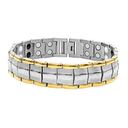 Aarogyam Energy Jewellery Bio Magnetic Therapy Metal Bracelet for Men Boys Girls Women (6. Golden Silver) (B07TJXHV3N) Amazon Price History, Amazon Price Tracker