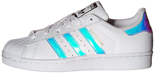 adidas Originals Kid's Superstar J Shoe, White/White/Metallic Silver, 4 M US Big Kid by adidas Originals (Image #5)