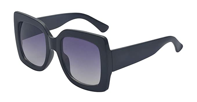 7ebee3621ad Kelens Oversized Square Sunglasses Flat Top Thick Nerdy Hipster Frame Women  Black