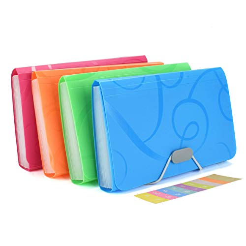 EsOfficce Expanding File Folder, Accordian File Organizer, 13 Pockets Organizer Folder with 12 Labels, Rope Buckle Closure, Organizer for Receipts, Coupons and Tickets, A6 Size/ 6.88 x 4.33 Inch,4 Pcs