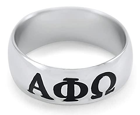 Alpha Phi Omega Fraternity Men's Sterling Silver Wide-Band Ring (7)
