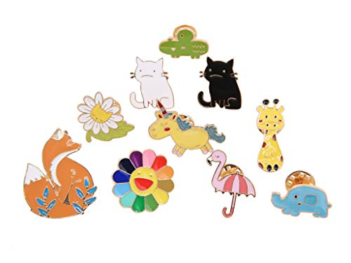 10 Pieces Cute Animal and Flower Themed Brooch Pins Set,Enamel Lapel Pin Cartoon Badges for Teen Children Clothes Backpacks Decor Birthday Gift