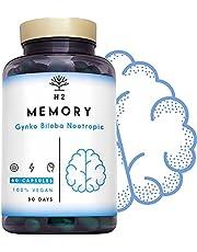 Nootropics kognitiv förstärkare hjärnbooster. Kaffe, Ginko Biloba, Bacopa, vitaminer. Nootropiskt komplement för mental prestanda, fokus bättre humör UK vegancertifierad 60 kapslar N2 naturlig näring