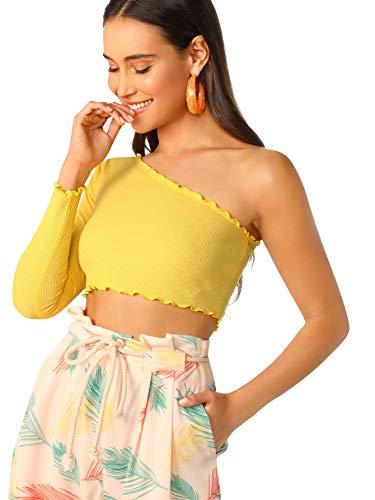 Floerns Women's One Shoulder Long Sleeve Plain Casual Crop Tops Yellow-1 L - Lettuce Edge Knit Top