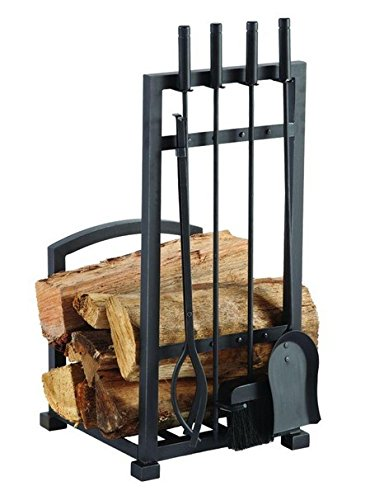 4-piece Harper Fireplace Toolset with Log Holder | Log Holder, Poker, Tong, Shovel, Tampico Brush and Heavy-duty Stand